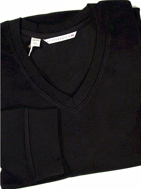 #262147. 2XL BIG. BLACK Retail $  95.00 Sweaters by CUTTER BUCK. JRNY FLATBACK V-NECK Whs A:  1