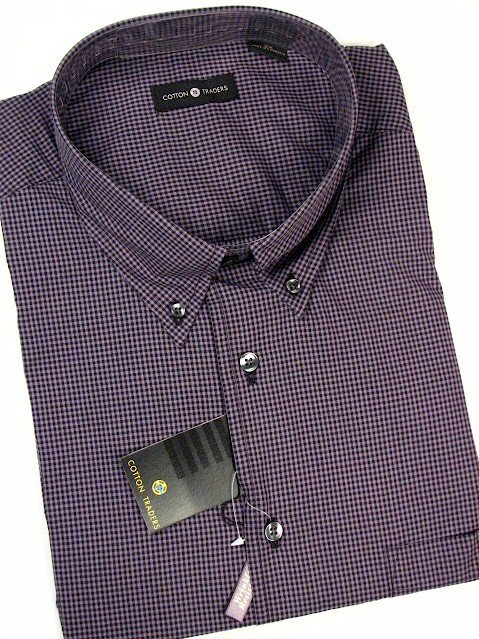 #031543. 2XL BIG. PLUM Retail $  48.00 Long Sleeve Cotton by CTTON TRADERS. MICRO-GINGHAM SOLID Whs A:  2