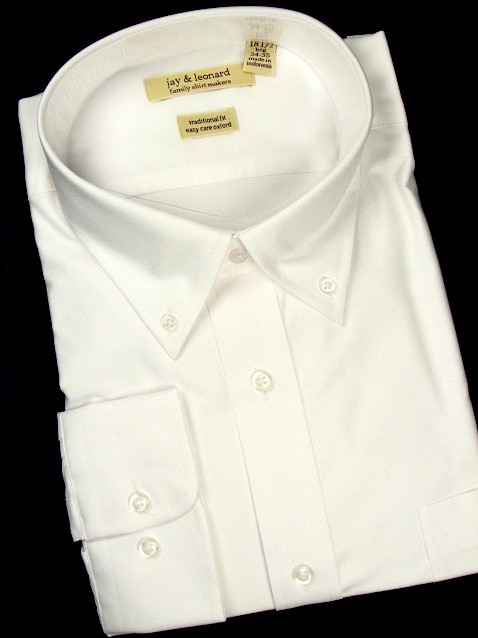 #335287. 24.0 38-39 Tall. WHITE Retail $  48.00 Dress Long Sleeves by JAY & LEONARD. COTTON POLY OXFORD Whs A:  1