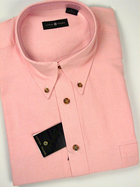 #129819. 4XL TALL. PINK Retail $  55.00 Long Sleeve Cotton by CTTON TRADERS. LONG SLV SOLID OXFORD Whs A:  1