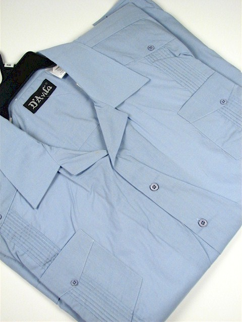 #269762. XL TALL. LT BLUE Retail $  42.00 Short Sleeve by D'AVILA. SOLID GUAYBERA Whs A:  3