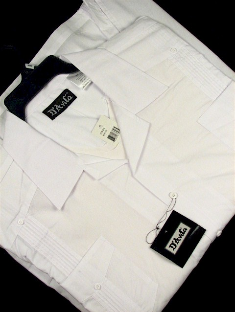 #236843. XL TALL. WHITE Retail $  42.00 Short Sleeve by D'AVILA. SOLID GUAYBERA Whs A:  1