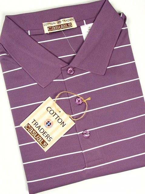 #007533. 2XL BIG. PLUM Retail $  49.00 Short Sleeve Stay Dry by CTTON TRADERS. WICKING KNIT STRIPE Whs A:  3