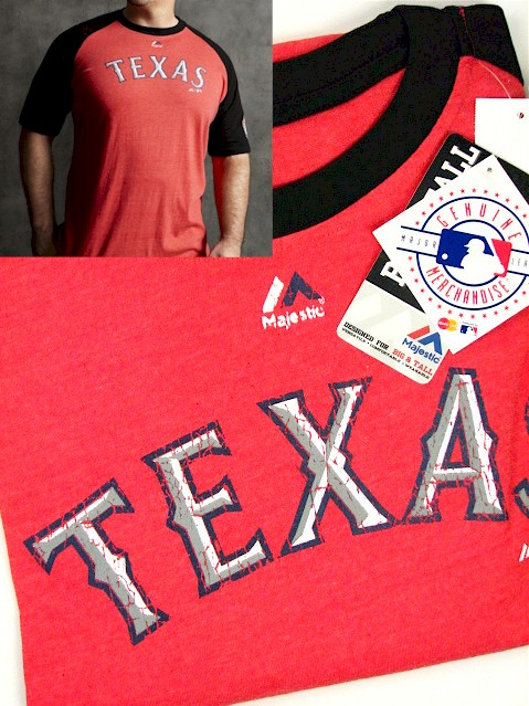 #237990. 3XL TALL. RED Retail $  35.00 Short Slv Graphic Tee by MAJESTIC. RANGERS RAGLAN Whs A:  1