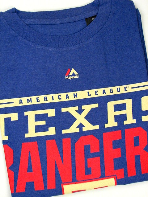 #339829. 3XL TALL. ROYAL Retail $  35.00 Short Slv Graphic Tee by MAJESTIC. TEXAS RANGERS TEE Whs A:  1