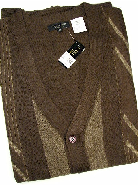 #024682. 2XL BIG. BROWN Retail $  85.00 Sweaters by CELLINI. CARDIGAN LS JACQUARD Whs A:  1