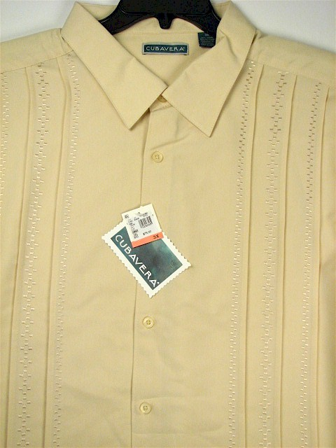 #137052. 3XL TALL. SAND Retail $  75.00 Short Sleeve by CUBAVERA. VERTICAL PANEL PLEAT Whs A:  1