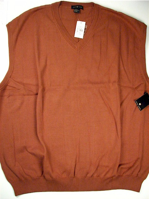 #026011. 4XL TALL. BRONZE Retail $  49.00 Sweaters by CTTON TRADERS. COTTON VEST Whs A:  3