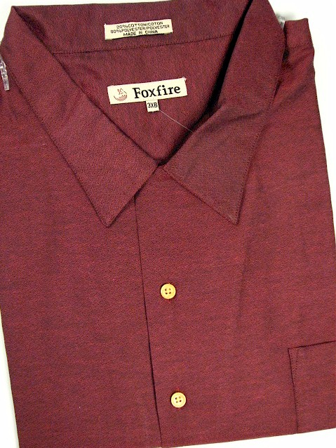 #147815. 2XL TALL. WINE Retail $  55.00 Short Sleeve Updated by FOXFIRE. SOLID CREPE CAMP Whs A:  4