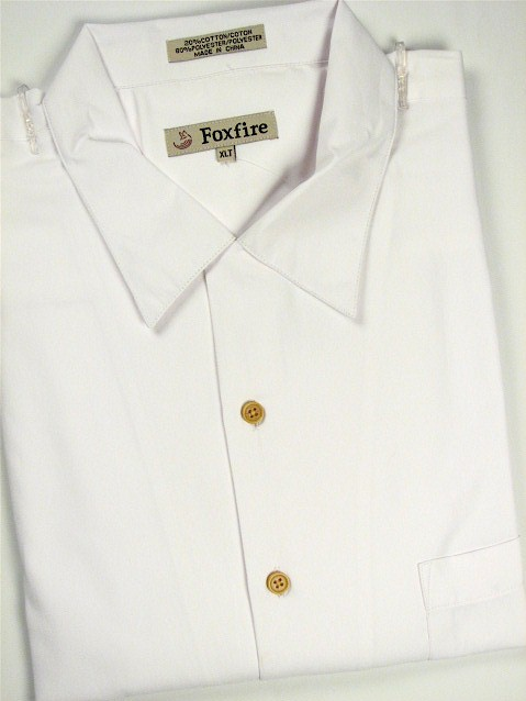 #151667. 2XL TALL. WHITE Retail $  55.00 Short Sleeve Updated by FOXFIRE. SOLID CREPE CAMP Whs A:  1