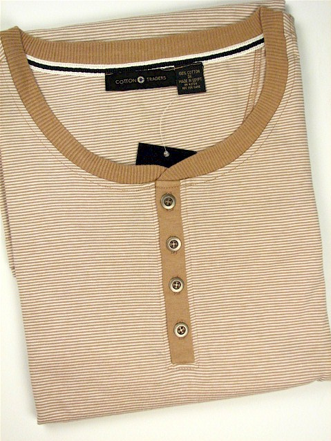 #004181. 2XL BIG. KHAKI Retail $  24.00 Short Sleeve Henley by CTTON TRADERS. MINI-STRIPE HENLEY Whs A:  1