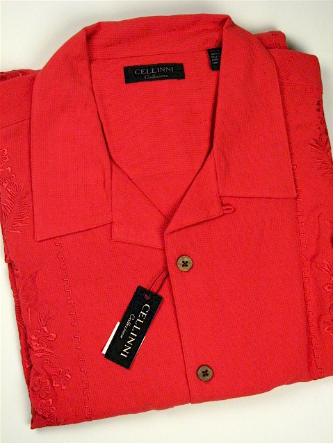 #165512. 2XL TALL. RED Retail $  74.00 Short Sleeve Updated by CELLINI. EMROIDERED SILK Whs A:  2