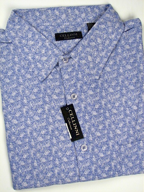 #053275. 2XL TALL. BLUE Retail $  74.00 Short Sleeve Tropical by CELLINI. SILK ALLOVER NEAT Whs A:  3