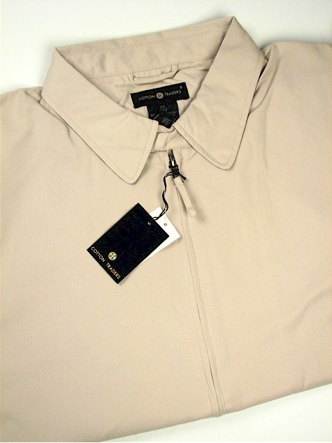 #058324. 5XL TALL. STONE Retail $  95.00 Outerwear by CTTON TRADERS. MICROFIBER JACKET Whs A:  3