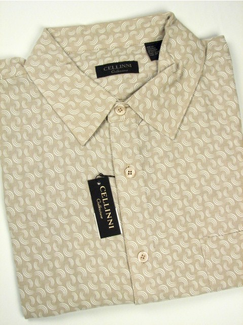 #014436. 2XL TALL. SAND Retail $  74.00 Short Sleeve Tropical by CELLINI. SILK ALLOVER NEAT Whs A:  1