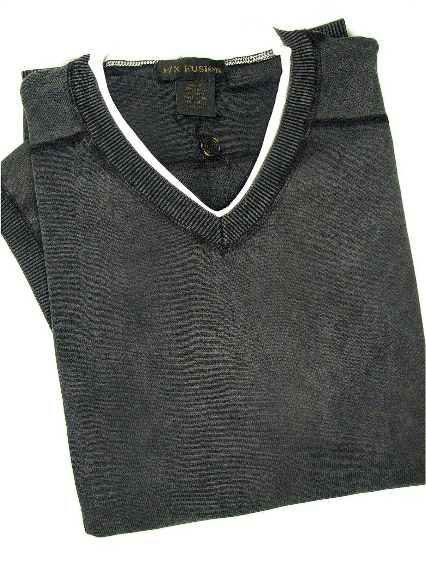 #285258. XL TALL. BLACK Retail $  28.00 Short Sleeve Tee by FX DESIGN. V-NECK RINGER TEE