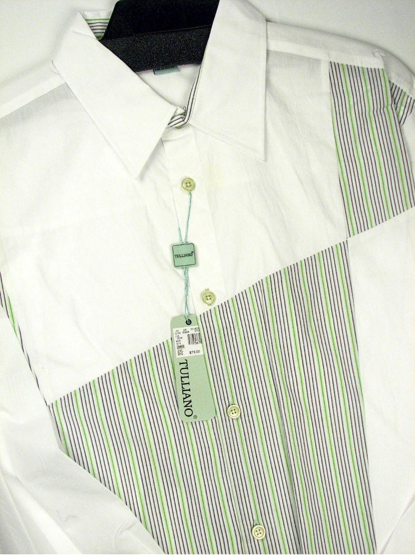 #006053. 4XL BIG. LIME Retail $  79.00 Long Sleeve by TULLIANO. VERTICAL STRIPE BLOCK Whs A:  1