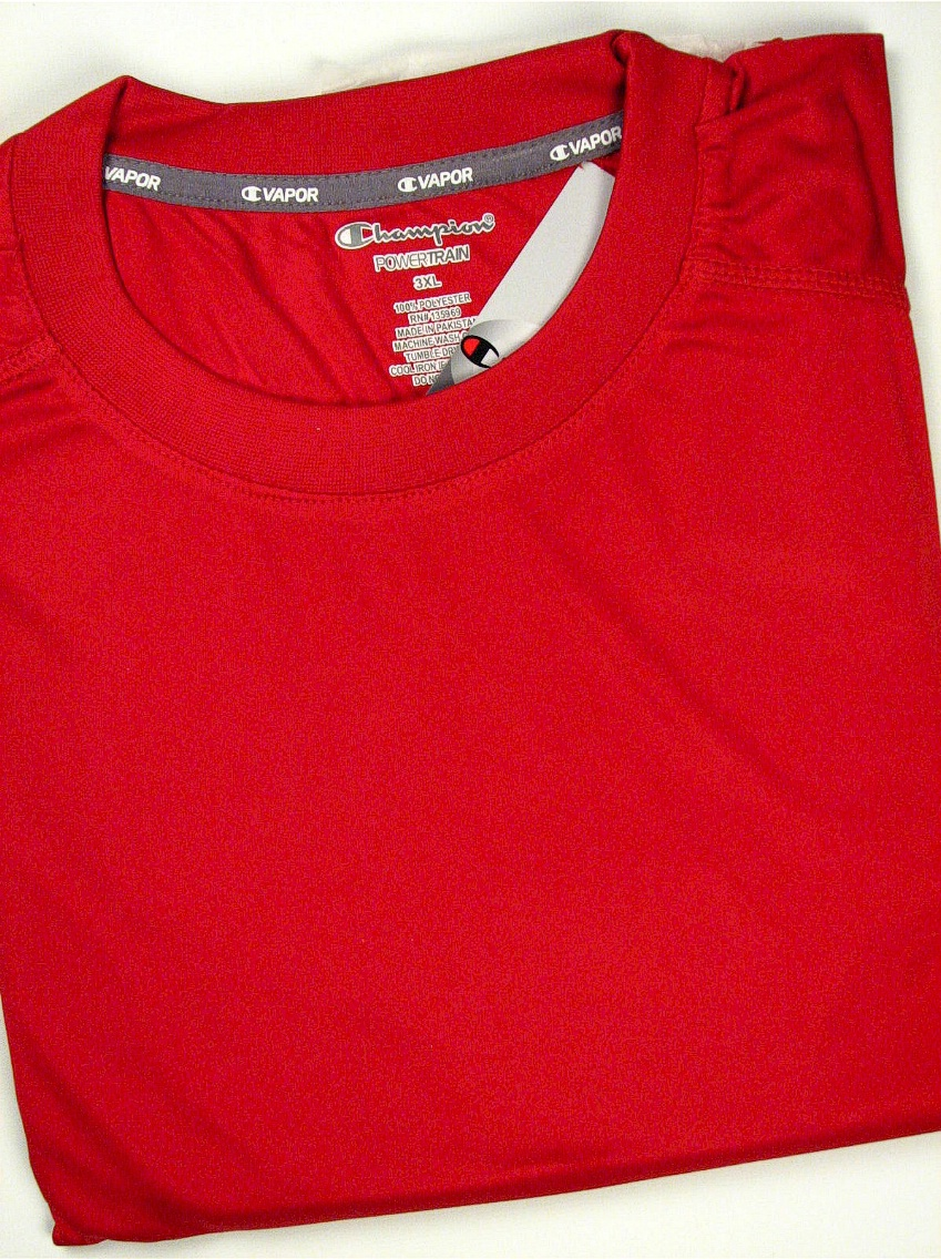 #187772. 3XL TALL. RED Retail $  36.00 Dri Power Crew by CHAMPION. VAPOR DRY TECH CREW Whs A:  2