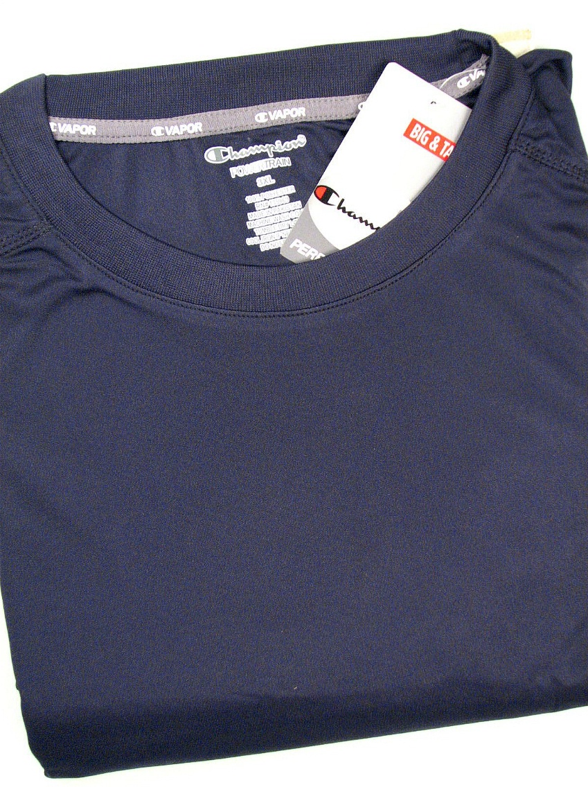 #061290. 4XL BIG. NAVY Retail $  36.00 Dri Power Crew by CHAMPION. VAPOR DRY TECH CREW Whs A:  2