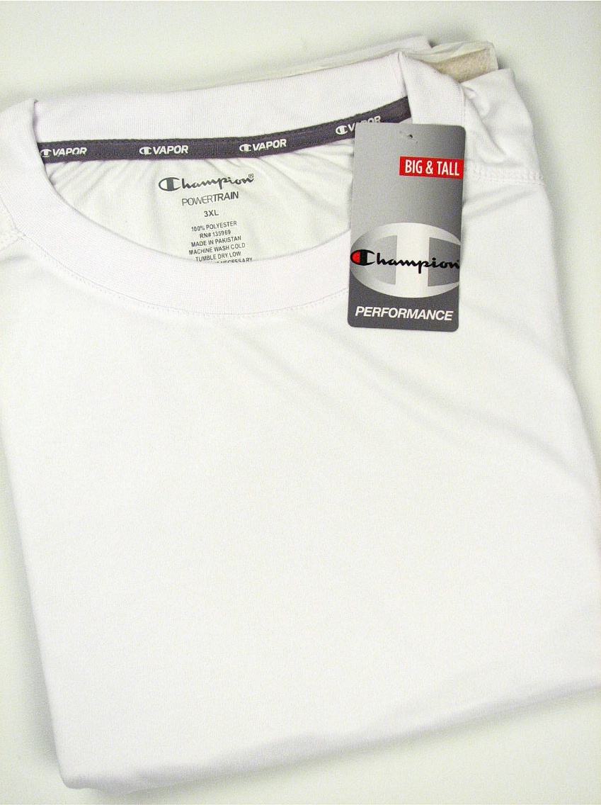#141952. 4XL BIG. WHITE Retail $  36.00 Dri Power Crew by CHAMPION. VAPOR DRY TECH CREW Whs A:  2