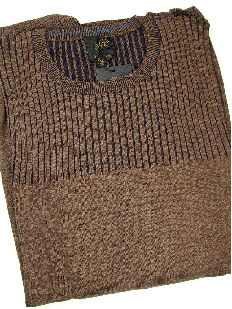 #002501. 4XL TALL. BARK Retail $  79.00 Sweaters by FX DESIGN. CREW RIB TEXTURE Whs A:  3