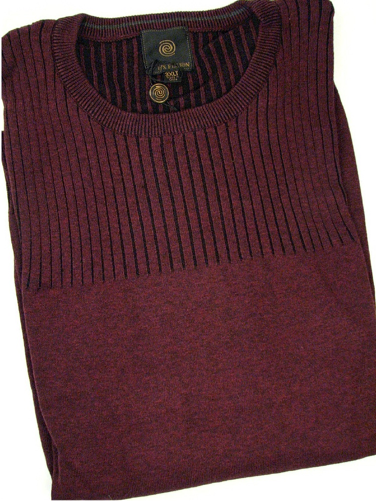 #057439. 4XL TALL. WINE Retail $  79.00 Sweaters by FX DESIGN. CREW RIB TEXTURE Whs A:  2