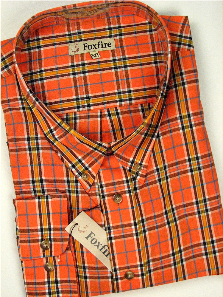#094290. 5XL TALL. ORANGE Retail $  42.00 Long Sleeve BD/BU by FOXFIRE. BLENDED BUTTON DOWN Whs A:  2