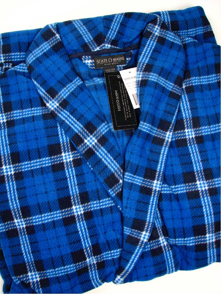 #345569. 3XL TALL. BLUE Retail $  50.00 Robes by STATE-O-MAINE. POLY FLUFF ROBE PLAID Whs A:  1