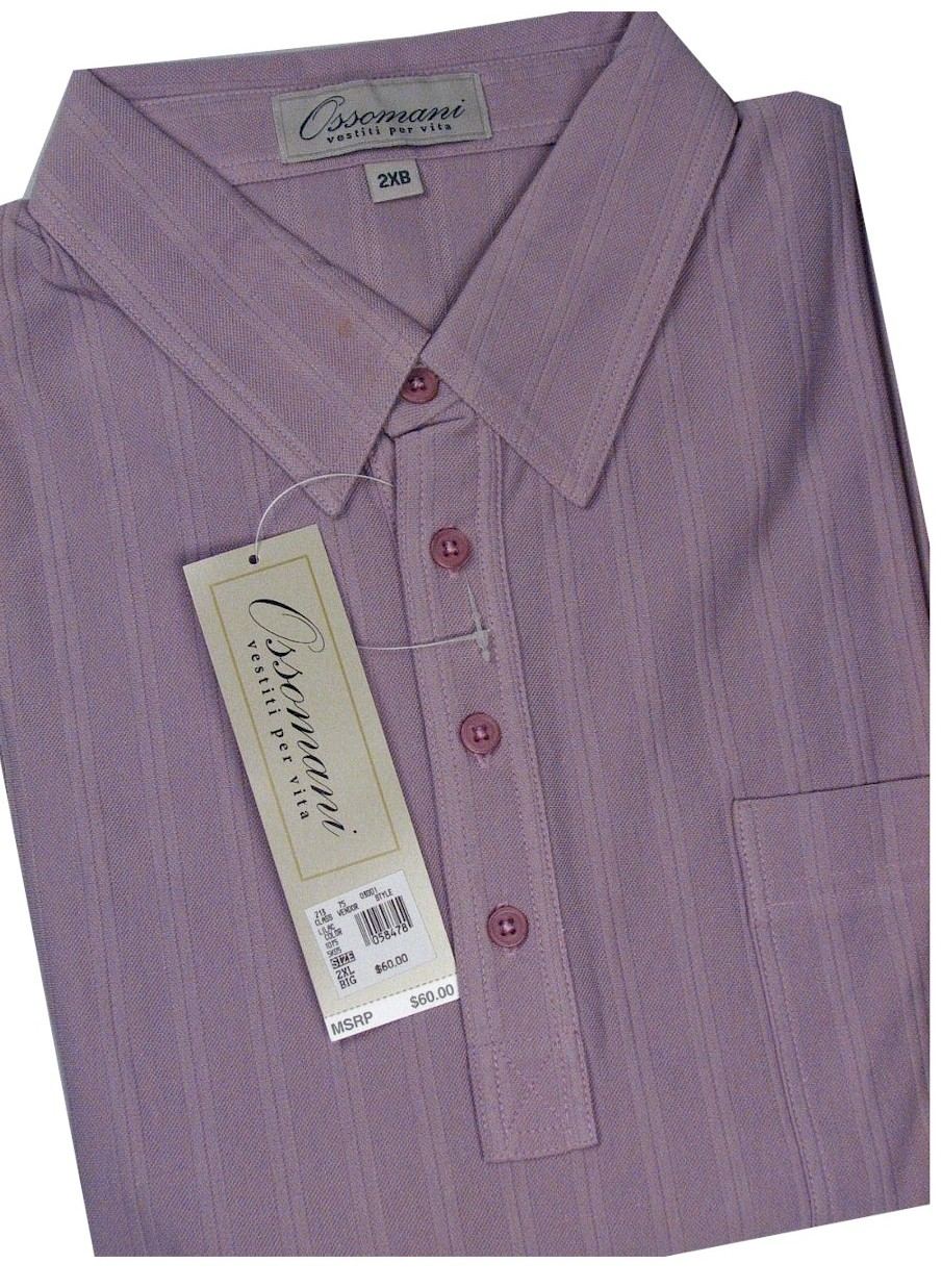 #288626. XL BIG. LILAC Retail $  60.00 Short Sleeve by OSSOMANI. DROP NEEDLE SOLID BB Whs A:  1