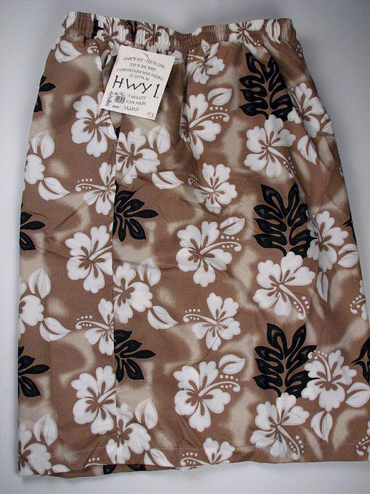 #081014. 9XL BIG. TAN Retail $  58.00 Swim Wear by HIGHWAY ONE. MFIBER TROPICAL TRUNK Whs A:  1