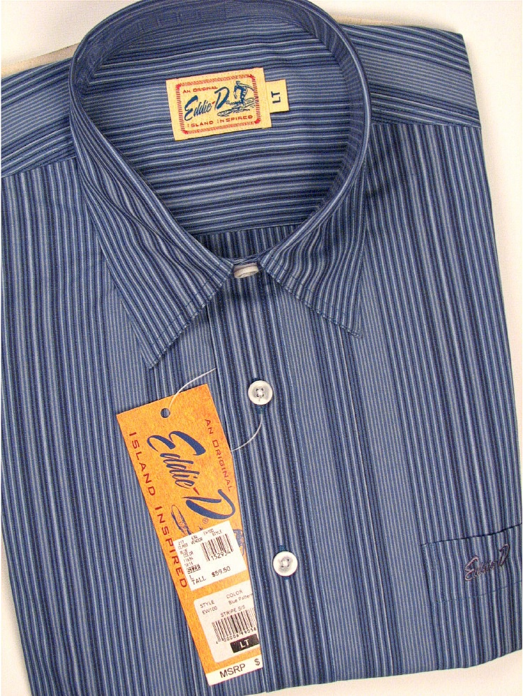 #152934. L TALL. BLUE Retail $  59.50 Short Sleeve Updated by EDDIE D. VERTICAL PIN STRIPE Whs A:  6