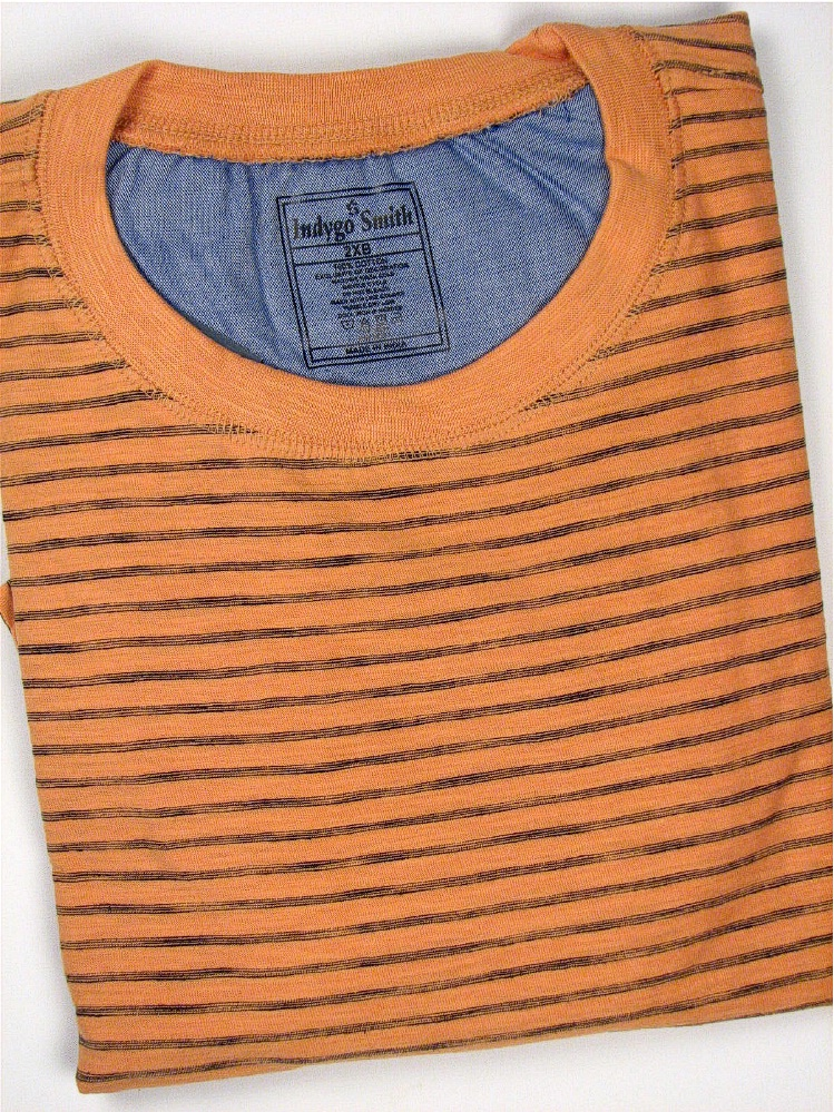 #093417. XL TALL. APRICOT Retail $  35.00 Short Slv No Pocket by INDYGO SMITH. SPACE DYE STRIPE TEE Whs A:  4