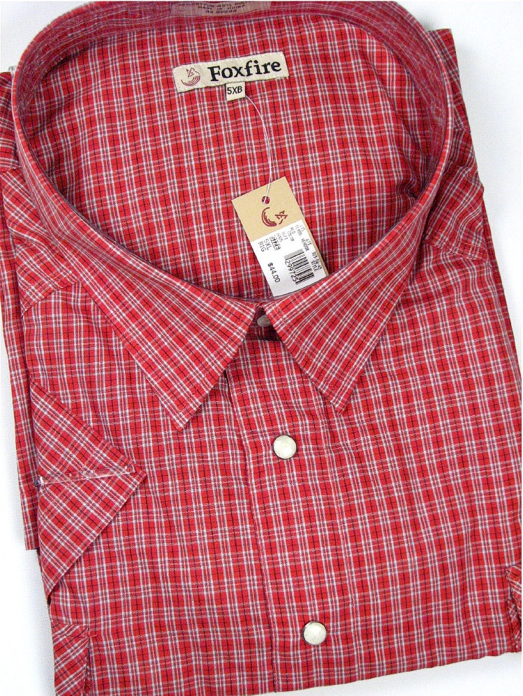#069481. 7XL BIG. RED Retail $  48.00 Western Short Sleeve by FOXFIRE. 2-PKT SNAP WESTERN SS Whs A:  1