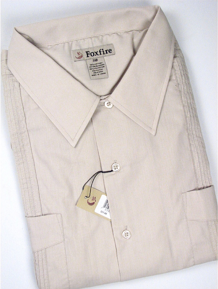 #074731. XL TALL. LINEN Retail $  44.00 Short Sleeve by FOXFIRE. GUAYABERA SHORT SLV Whs A:  2
