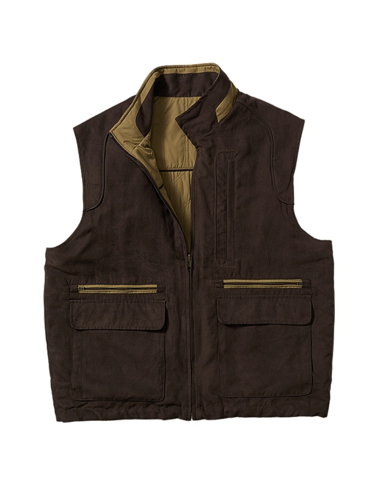 #271413. 3XL BIG. BROWN Retail $ 180.00 Outerwear by CUTTER BUCK. REVERSIBLE VEST Whs A:  1