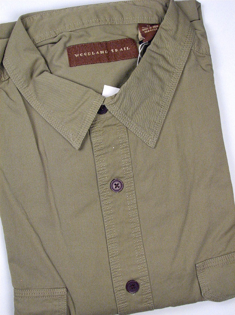 #007205. 2XL TALL. OLIVE Retail $  48.00 Short Sleeve by WOOD LAND TRAIL. 2-POCKET TWILL SS Whs A:  1