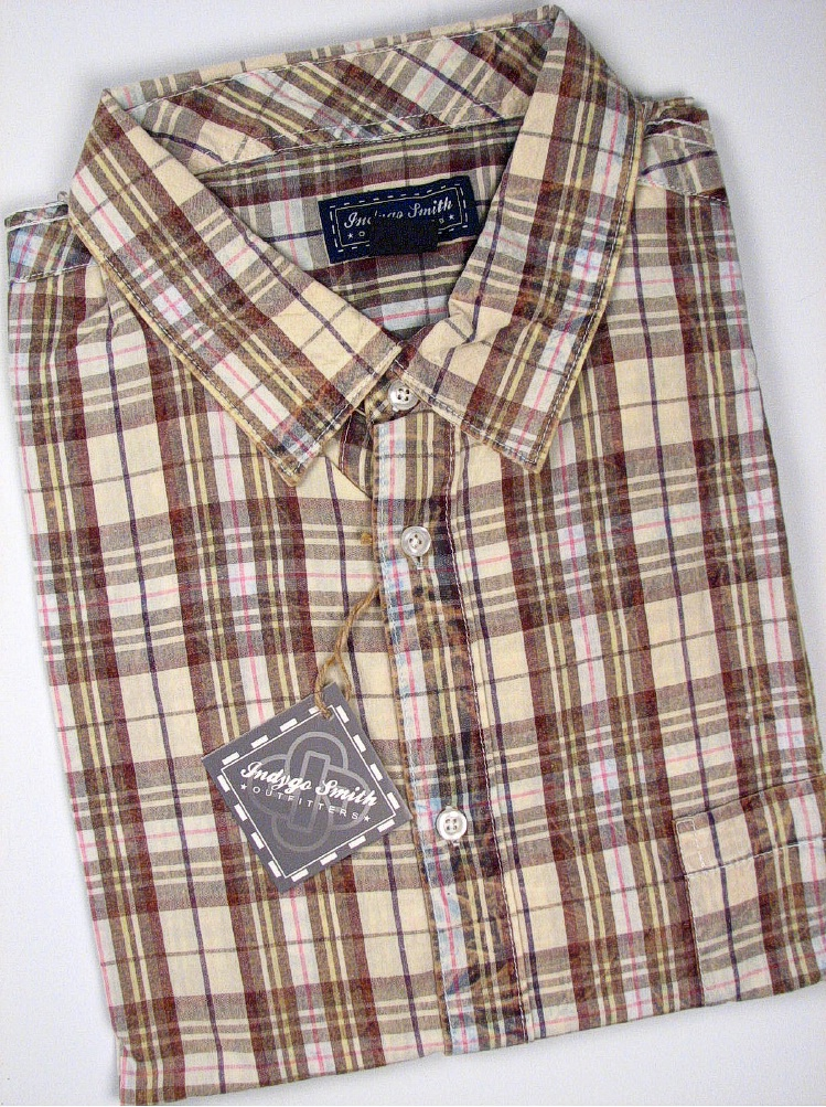 #001562. 2XL BIG. OLIVE Retail $  55.00 Short Sleeve by INDYGO SMITH. SNOWWASH SS PLAID Whs A:  1