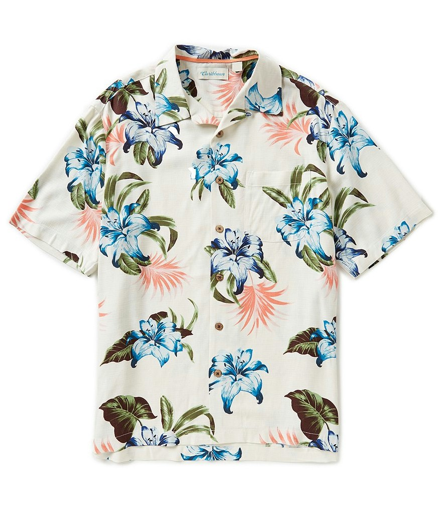 #288499. 3XL BIG. NATURAL Retail $  89.50 Short Sleeve Tropical by CARIBBEAN. SHRT SLV TROPICAL Whs A:  4