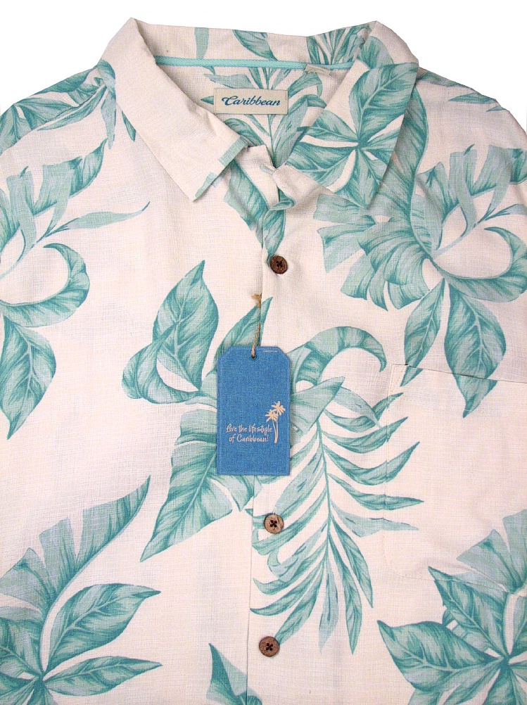 #256658. 3XL BIG. NATURAL Retail $  89.50 Short Sleeve Tropical by CARIBBEAN. SHRT SLV TROPICAL Whs A:  1