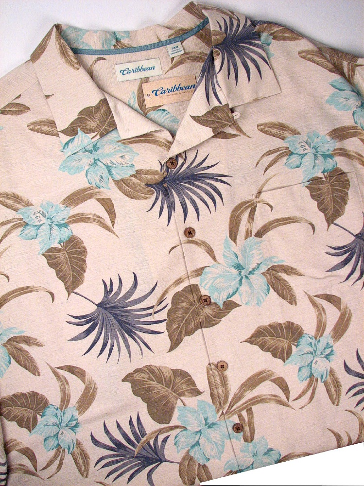 #139191. 3XL BIG. NATURAL Retail $  89.50 Short Sleeve Tropical by CARIBBEAN. SHRT SLV TROPICAL Whs A:  5