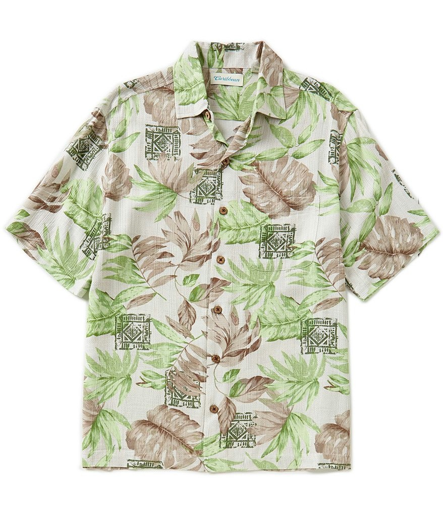 #141268. 3XL BIG. NATURAL Retail $  69.50 Short Sleeve Tropical by CARIBBEAN. SHRT SLV TROPICAL Whs A:  6