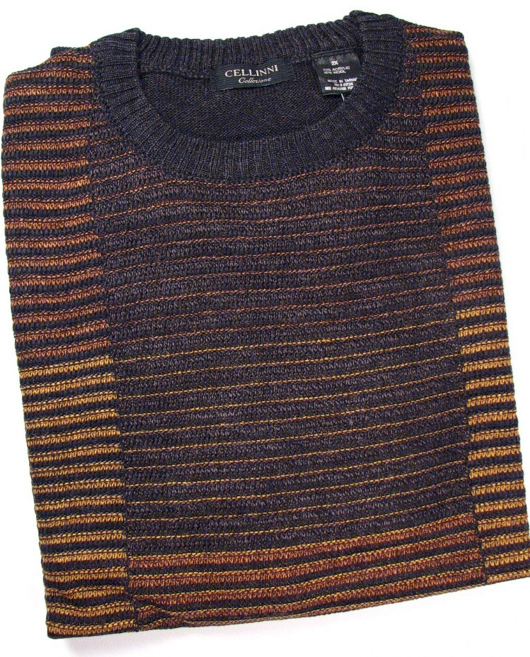 #014577. 4XL BIG. BRONZE Retail $  69.00 Sweaters by CELLINI. TEXTURED CREW SWEATER Whs A:  2