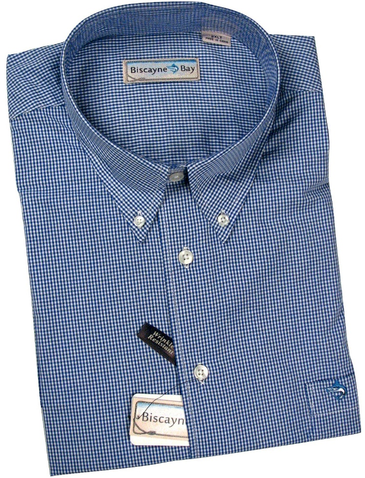 #092069. 6XL TALL. BLUE Retail $  55.00 Long Sleeve Cotton by BISCAYNE BAY. WOVEN CHECK LONG SLV Whs A:  3