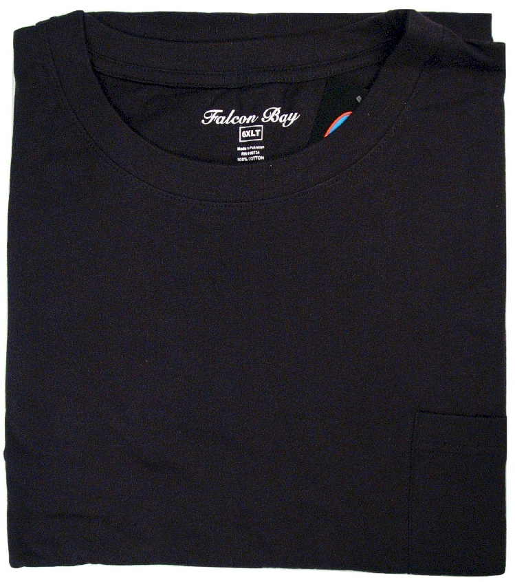 #073804. 6XL BIG. BLACK TAGLESS POCKET TEE Short Sleeve Tee by FALCON BAY. Whs A:  3 FBA:  1