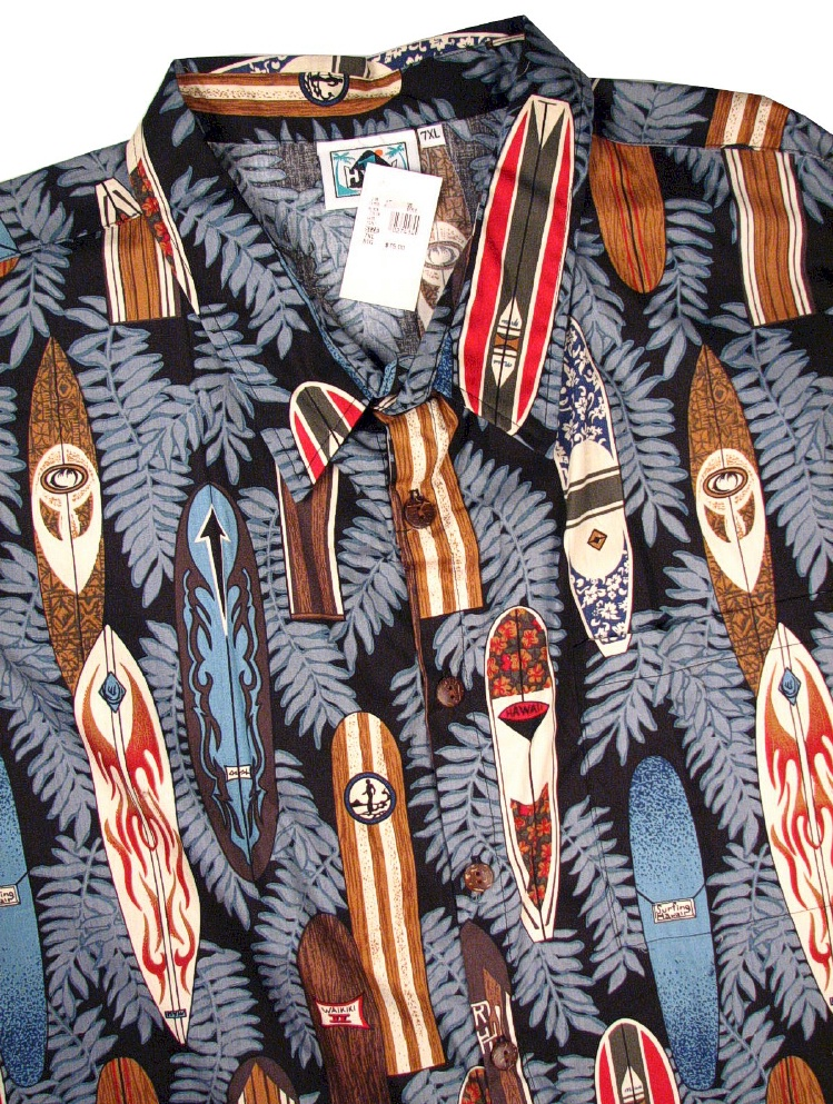#027414. 7XL BIG. BLACK Retail $  75.00 Short Sleeve Tropical by HIGHWAY ONE. TROPICAL PRINT Whs A:  1