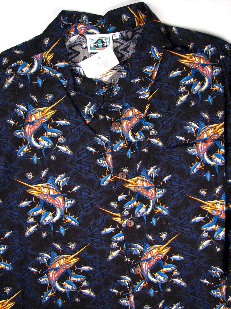 #027795. 7XL BIG. BLACK Retail $  75.00 Short Sleeve Tropical by HIGHWAY ONE. TROPICAL PRINT Whs A:  1