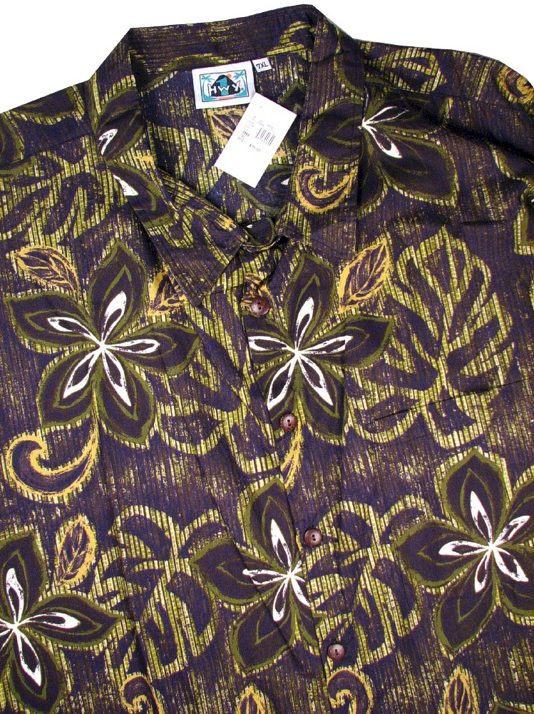 #079934. 8XL BIG. GREEN Retail $  75.00 Short Sleeve Tropical by HIGHWAY ONE. TROPICAL PRINT Whs A:  1