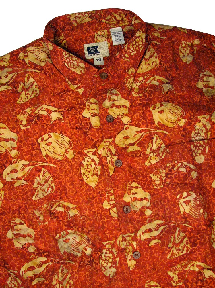 #313780. 8XL BIG. RUST Retail $  74.50 Short Sleeve Tropical by EDDIE D. BATIK PRINT