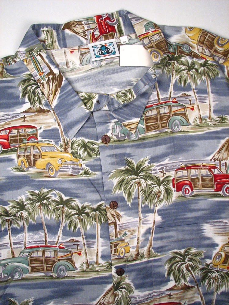 #132985. 8XL BIG. BLUE/GRY Retail $  75.00 Short Sleeve Tropical by HIGHWAY ONE. TROPICAL PRINT