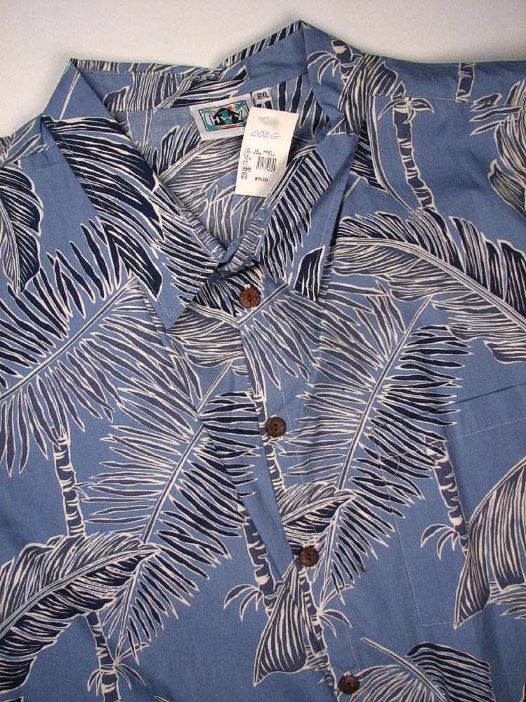 #117522. 8XL BIG. BLUE Retail $  75.00 Short Sleeve Tropical by HIGHWAY ONE. TROPICAL PRINT Whs A:  1
